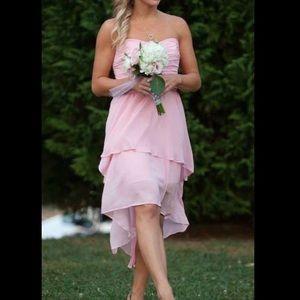 Pink high lower strapless dress